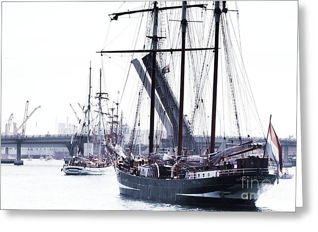 Greeting Card featuring the photograph Oosterschelde Leaving Port by Stephen Mitchell
