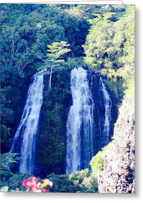 Opaeka'a Falls - Edit  Greeting Card by Alohi Fujimoto