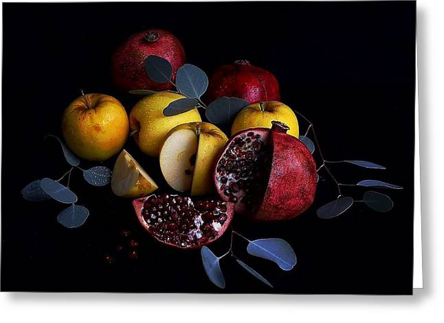 Opal Apples And Pomegranates Greeting Card