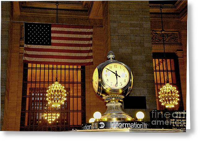 Opal Atomic Clock At Grand Central Greeting Card by Jacqueline M Lewis