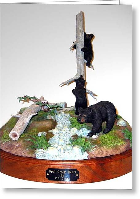 Opal Creek Bears Greeting Card by Carl Capps