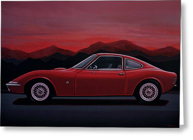 Opel Gt 1969 Painting Greeting Card