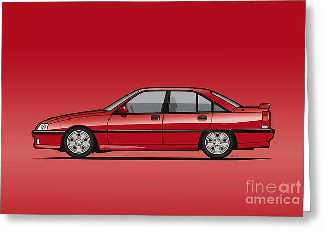 Opel Omega A, Vauxhall Carlton 3000 Gsi 24v Red Greeting Card by Monkey Crisis On Mars