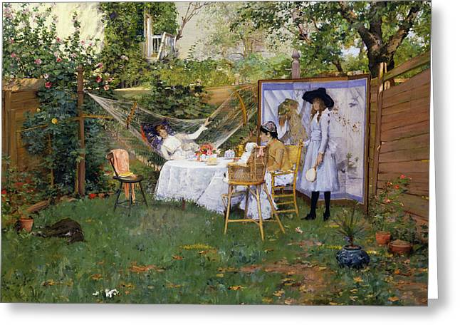 Open Air Breakfast Greeting Card by William Merritt Chase