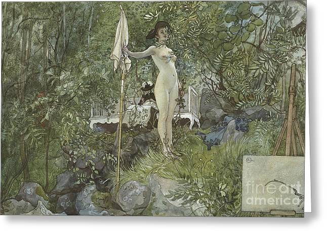 Open Air Studio Greeting Card by Carl Larsson
