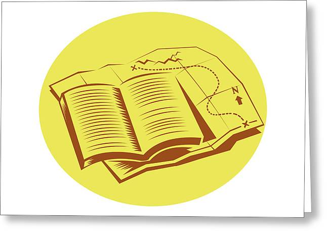 Open Book Trail Map Oval Woodcut Greeting Card by Aloysius Patrimonio