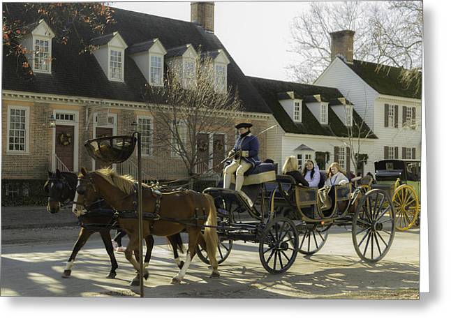 Open Carriage Ride In Colonial Williamsburg Virginia Greeting Card by Teresa Mucha