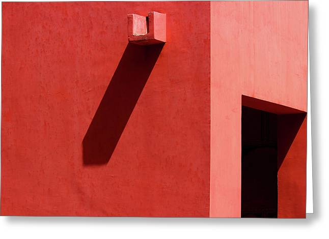 Open Door And Water Outlet On A Red Wall Greeting Card