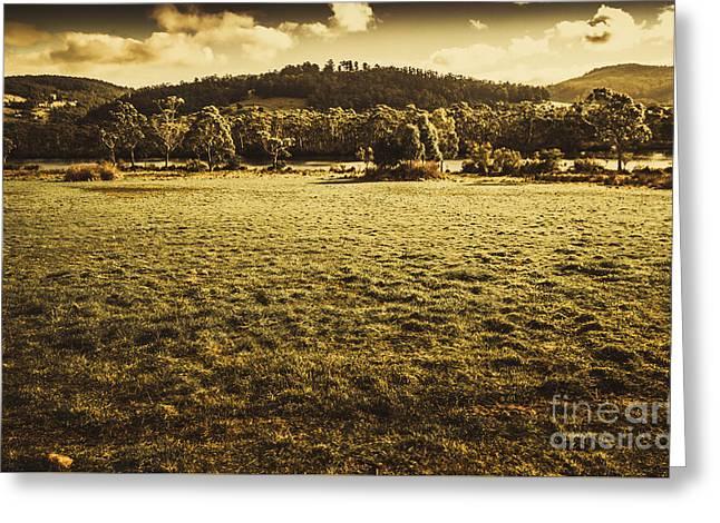 Open Fields Of Woodstock Tasmania Greeting Card by Jorgo Photography - Wall Art Gallery