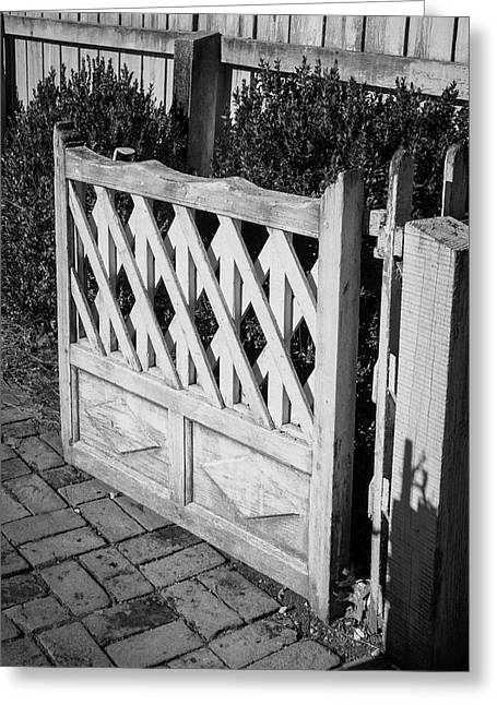 Open Garden Gate B W Greeting Card