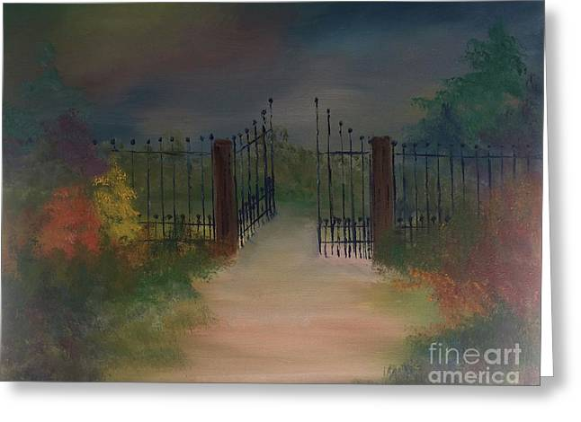 Greeting Card featuring the painting Open Gate by Denise Tomasura