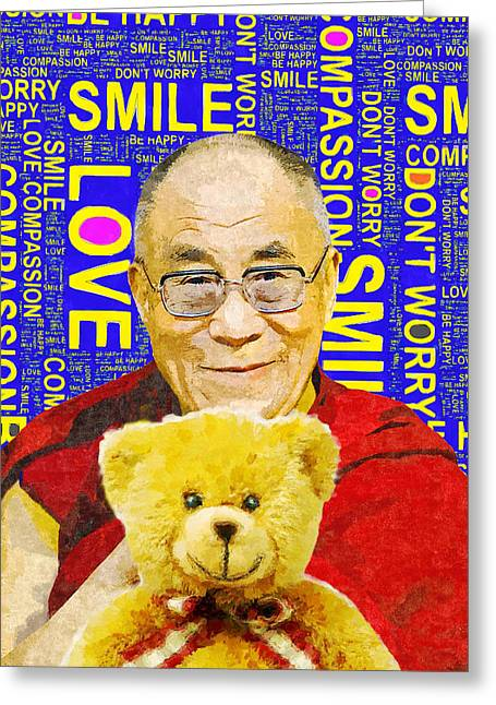 Open Heart, Open Mind - Royal Blue  Greeting Card by Stacey Chiew