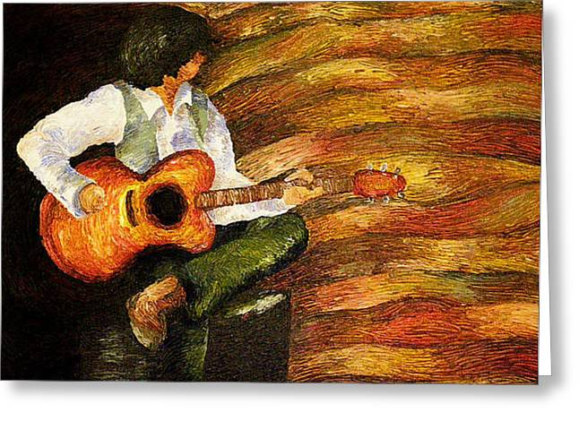 Greeting Card featuring the painting Open Mic Night by Meagan  Visser