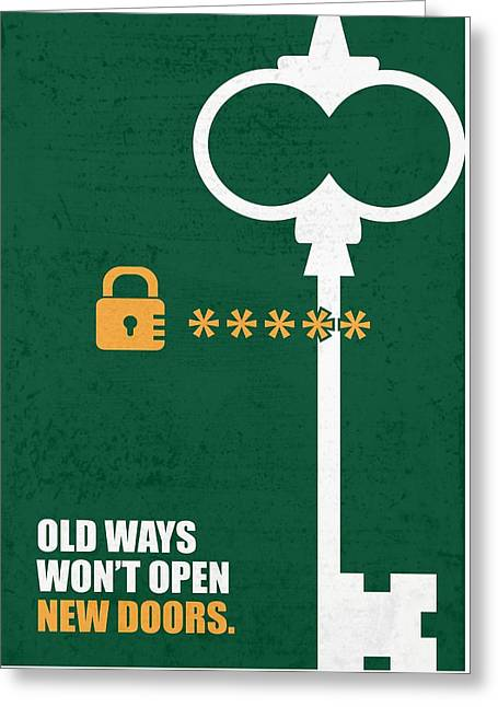 Open New Doors Business Quotes Poster Greeting Card by Lab No 4