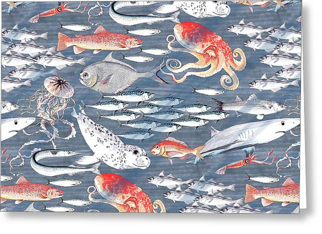 Open Sea, Repeat Pattern Greeting Card by Jacqueline Colley