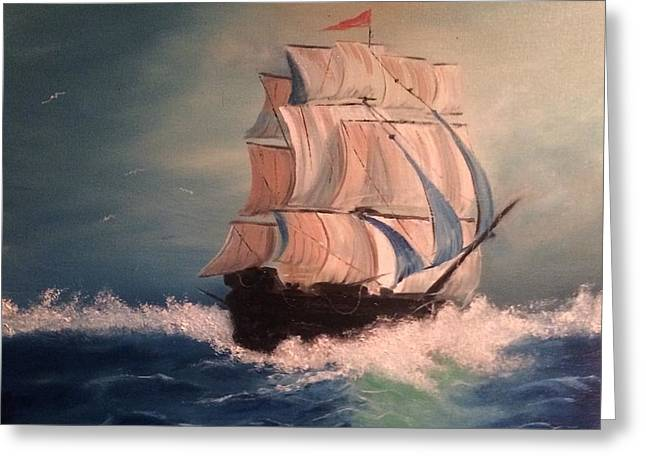 Greeting Card featuring the painting Open Seas by Denise Tomasura