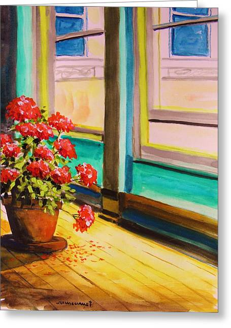 Red Geraniums Drawings Greeting Cards - Open Window Greeting Card by John  Williams