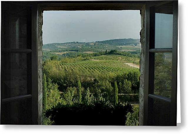 Open Window Looking Out On The Tuscan Greeting Card by Todd Gipstein