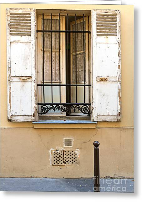 Open Window Of A Ground Floor Apartment In Paris Greeting Card