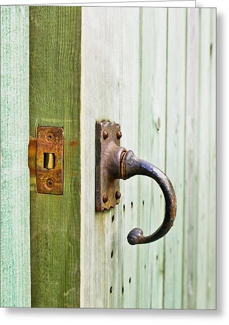 Open Wooden Door Greeting Card by Tom Gowanlock
