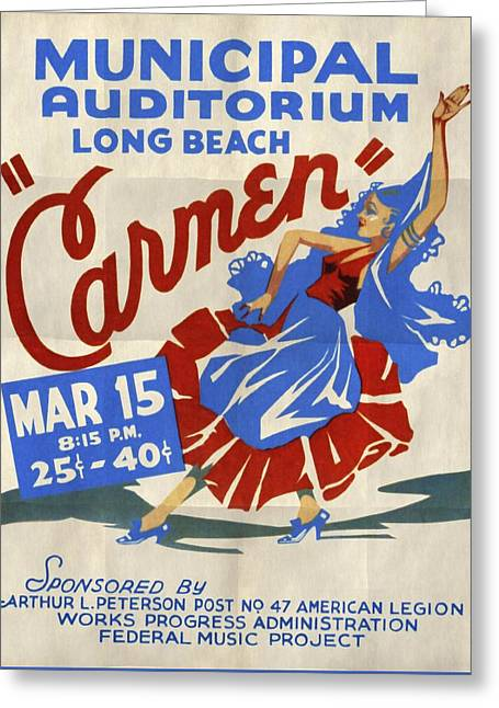 Opera Carmen In Long Beach - Vintage Poster Folded Greeting Card