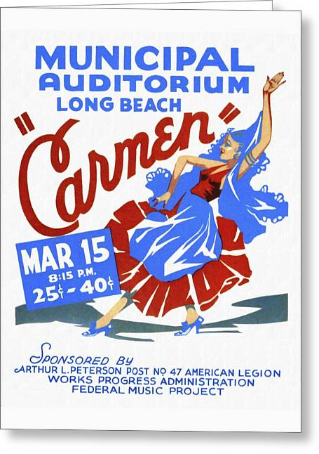 Opera Carmen In Long Beach - Vintage Poster Restored Greeting Card