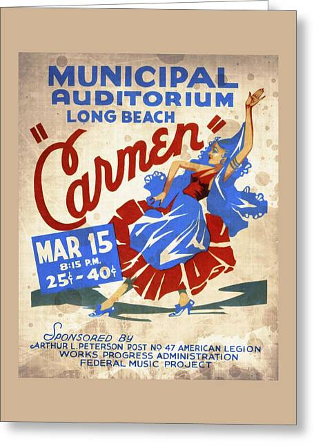 Opera Carmen In Long Beach - Vintage Poster Vintagelized Greeting Card