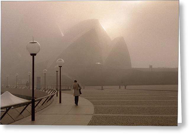 Opera House In The Fog Greeting Card by Barry Culling