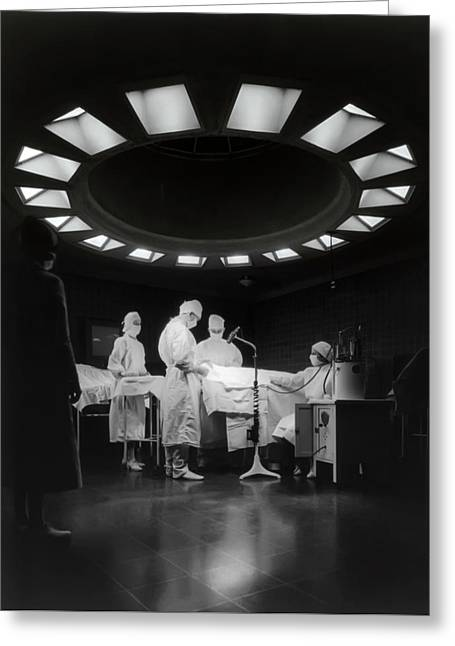 Greeting Card featuring the photograph Operating Room Theater 1933 by Daniel Hagerman