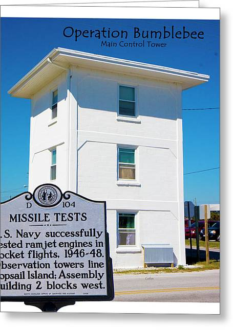 Operation Bumblebee Control Tower Greeting Card by Betsy Knapp