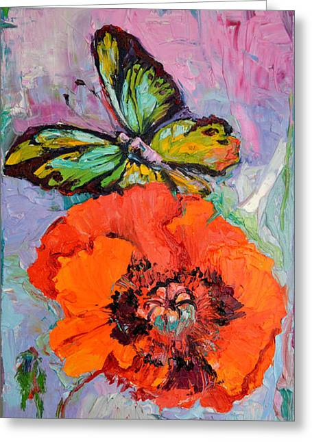 Opium Addiction, Butterfly On Poppy, Poppy Oil Painting Greeting Card