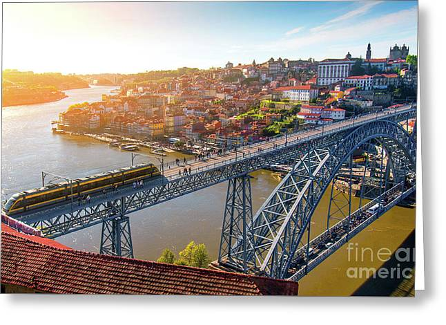 Oporto City Greeting Card by Carlos Caetano