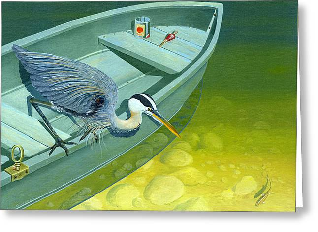 Greeting Card featuring the painting Opportunity-the Great Blue Heron by Gary Giacomelli