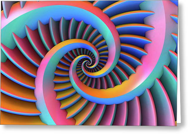 Greeting Card featuring the digital art Opposing Spirals by Lyle Hatch