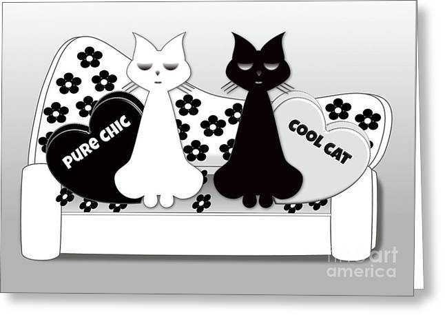 Opposites Attract - Black And White Cats On The Sofa Greeting Card