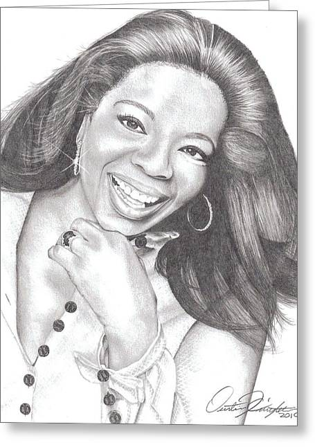 Oprah Greeting Card by Dustin Knighton