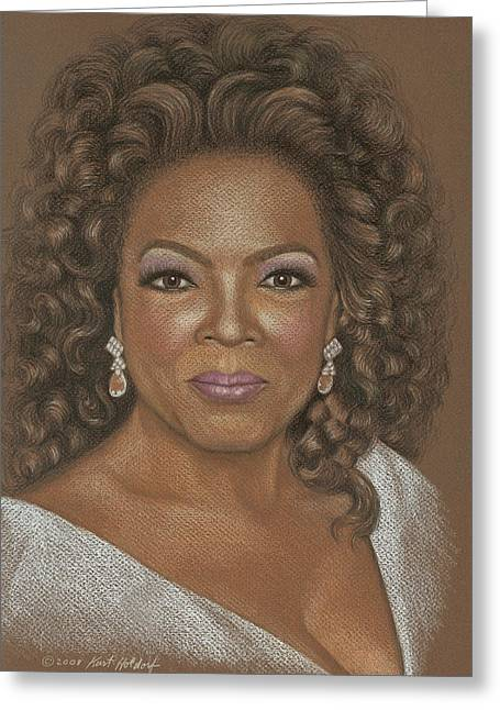 Oprah Greeting Card by Kurt Holdorf