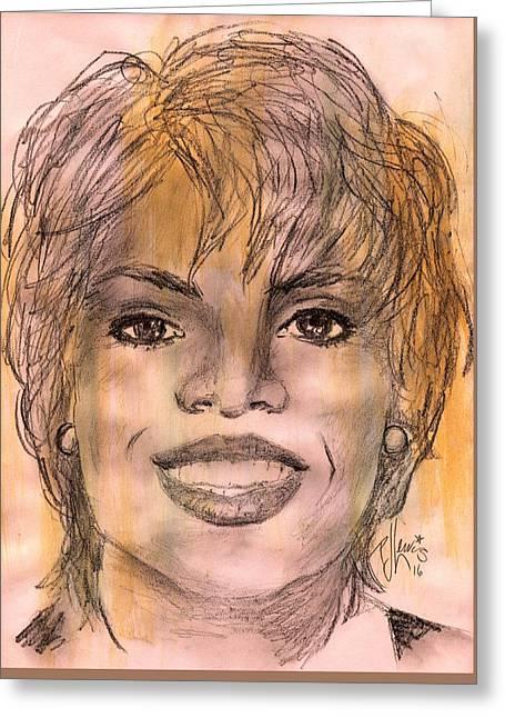 Oprah Greeting Card by P J Lewis