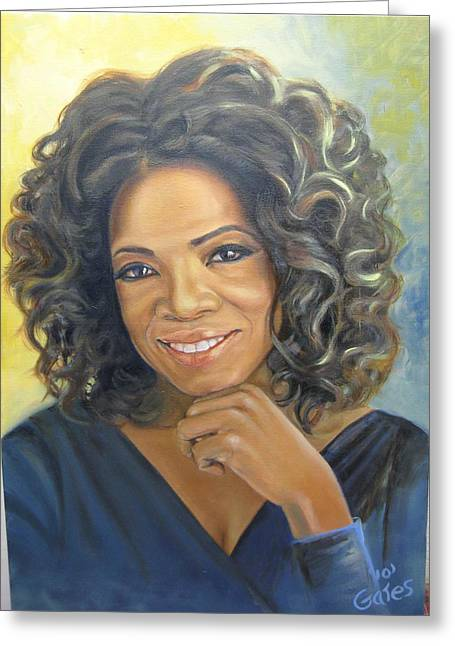 Oprah Queen Of Day Time Tv Greeting Card by Todd  Gates
