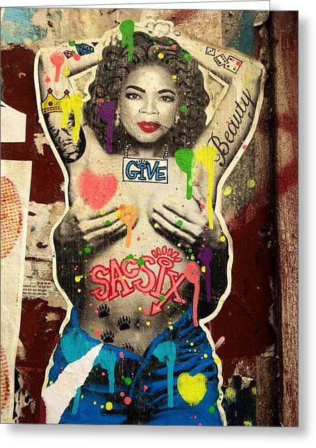 Oprah Winfrey Graffiti In New York  Greeting Card