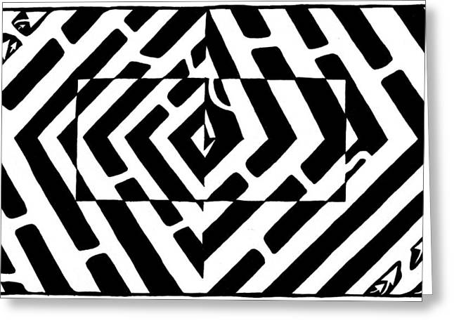 Optical Illusion Maze Of Floating Box Greeting Card by Yonatan Frimer Maze Artist