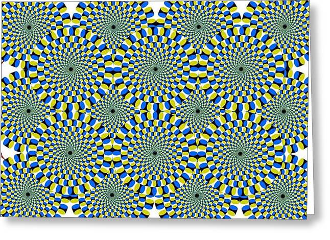 Optical Illusion Spinning Circles Greeting Card by Sumit Mehndiratta