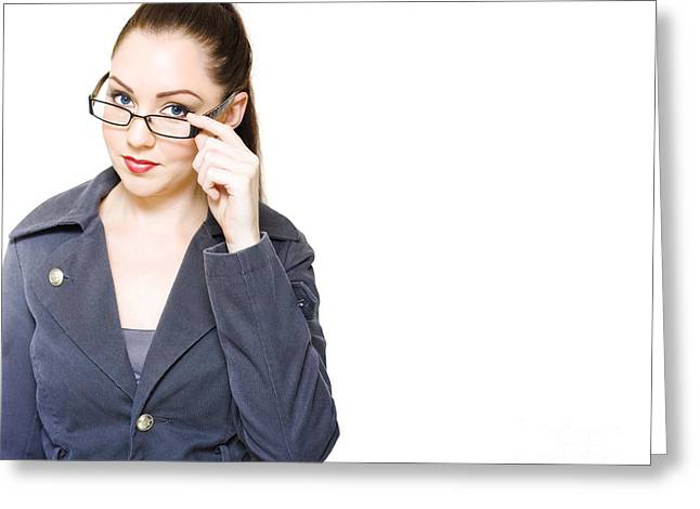 Optometry Concept With Optician Holding Eyewear Greeting Card