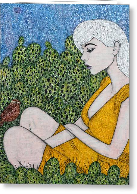 Greeting Card featuring the mixed media Opuntia by Natalie Briney