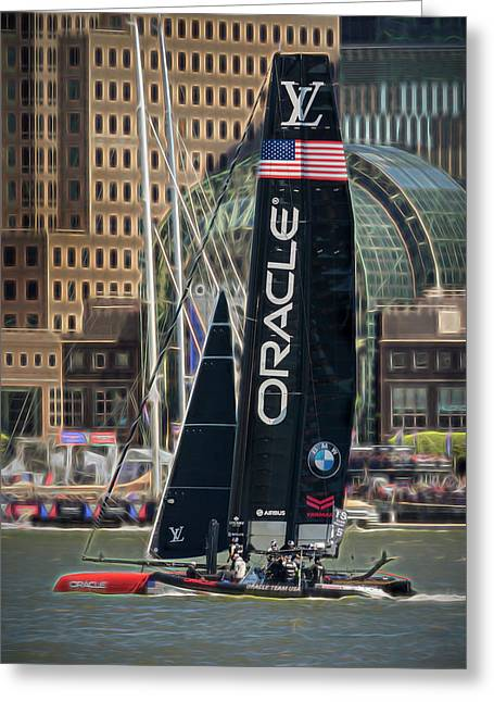 Oracle Team Usa America's Cup Ny Greeting Card by Susan Candelario