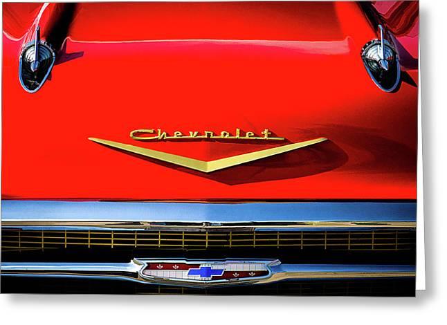 Orange '57 Chevy Greeting Card by Douglas Pittman