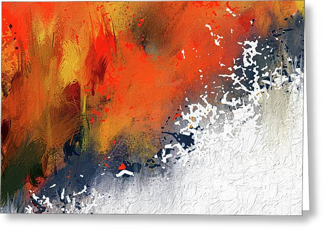 Splashes At Sunset - Orange Abstract Art Greeting Card by Lourry Legarde