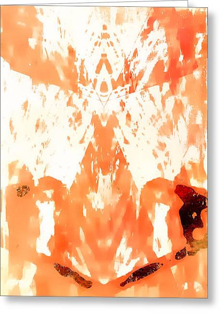 Orange Abstract Greeting Card by Tom Gowanlock
