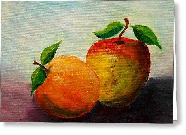 Apple And Orange Greeting Card