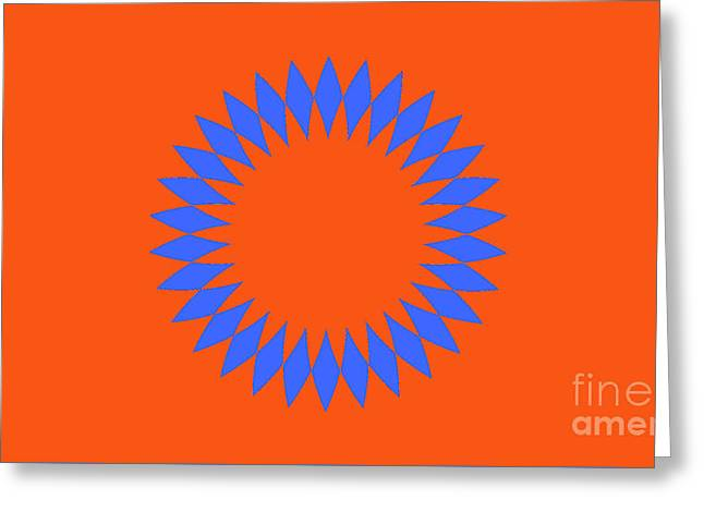 Orange And Blue Abstract Circle Landscape Greeting Card